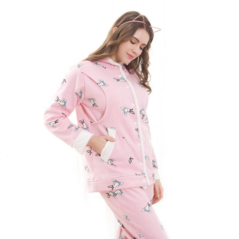 Maternity nursing pajamas set cotton print pregnancy breastfeeding nightgown maternity nursing gowns for pregnant sleepwear XV3 maternity nursing pajamas set soft comfortable breastfeeding sleepwear maternity pajama nightgown european 3pcs set