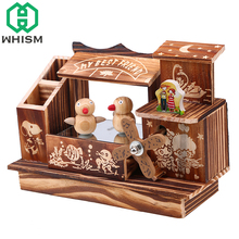 WHISM Wooden Music Box Retro Dancing Bird Ornament Craft Wood Windmill Musical Boxes Home Decoration Creative