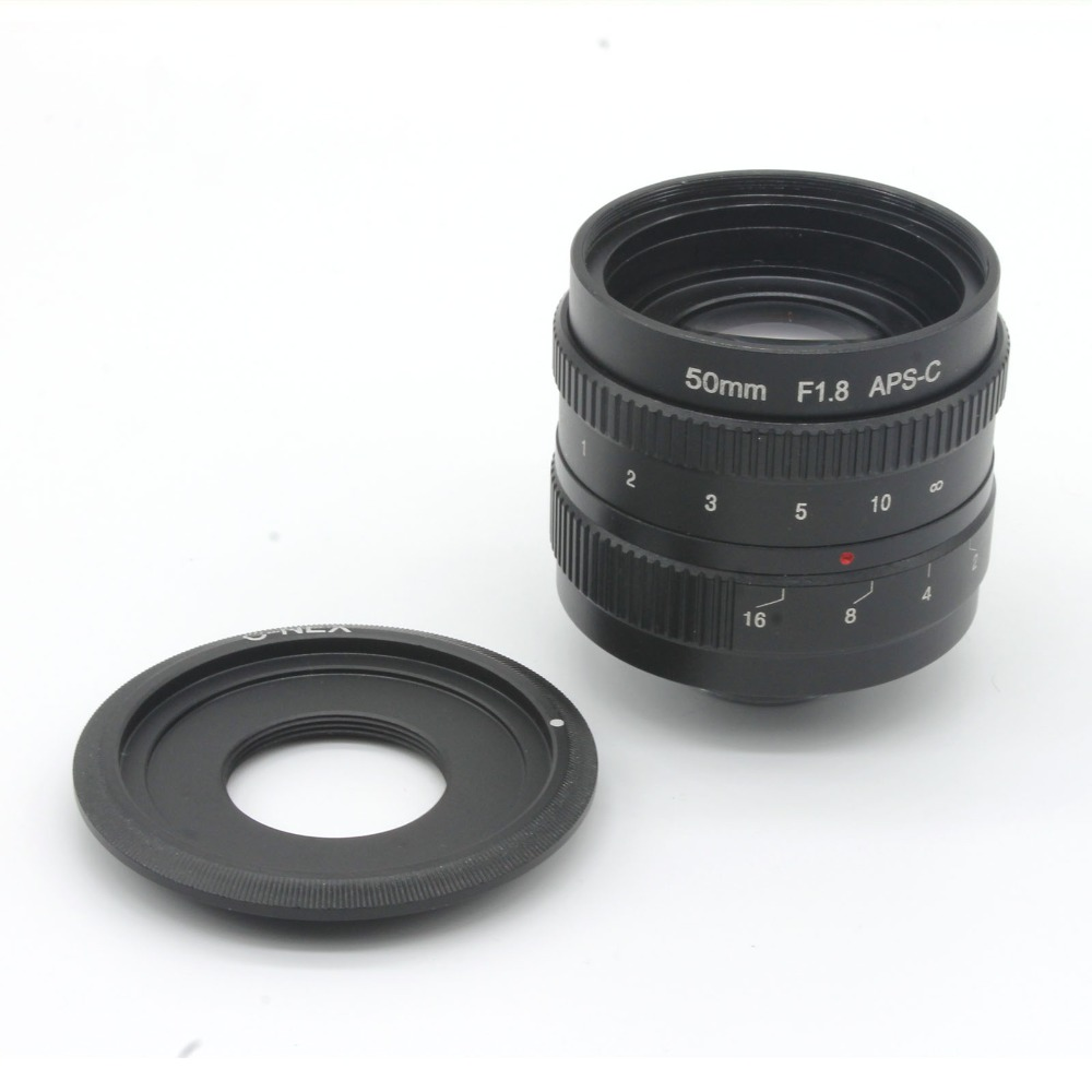 ФОТО 50mm f1.8 C mount CCTV Lens APS-C sensor camera lenses with C-NEX adapter ring For Sony NEX Camera NEX-6,NEX-5R,NEX-F3