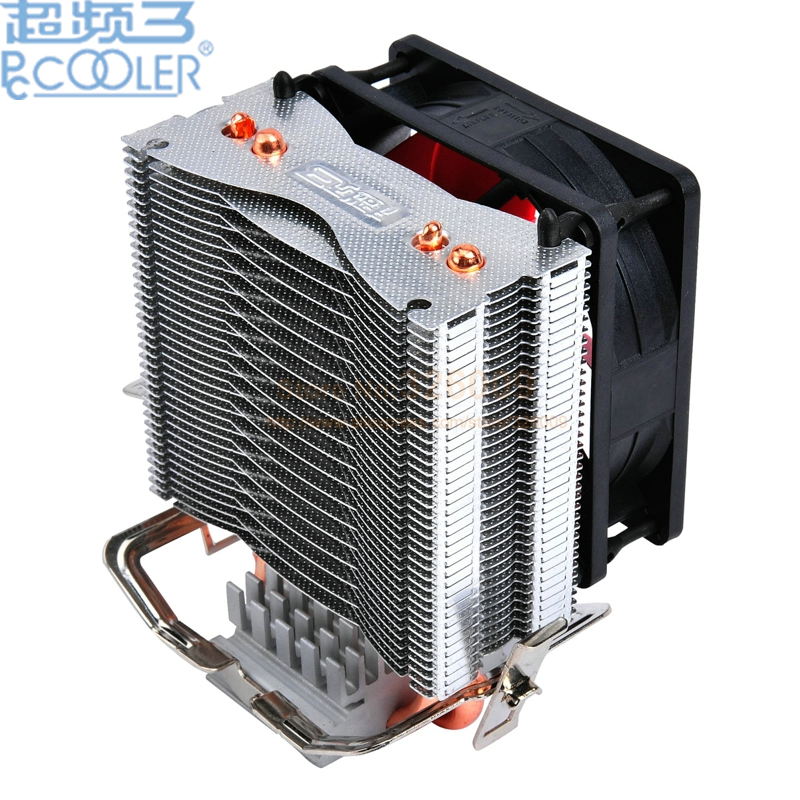 PcCooler 2 heatpipe 8cm fan CPU cooler radiator for Intel LGA 775/1150/1151/1155 1366 for AMD AM2+/AM3/FM1/AM2/939 fan cooling three cpu cooler fan 4 copper pipe cooling fan red led aluminum heatsink for intel lga775 1156 1155 amd am2 am2 am3 ed
