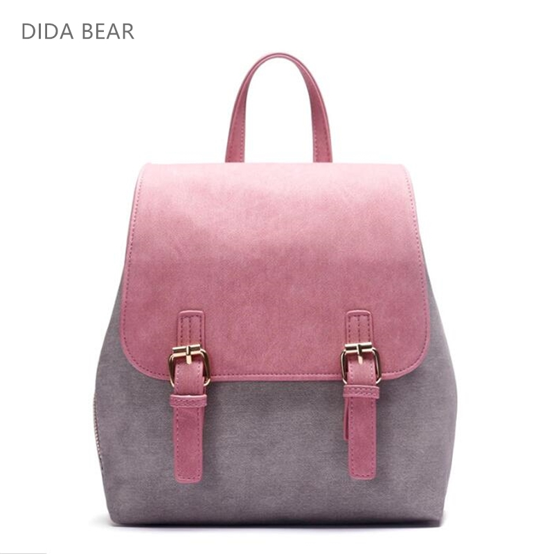 DIDA BEAR Brand Women Pu Leather Backpacks Female School bags for Girls Teenagers Small Backpack Rucksack Mochilas Sac A Dos