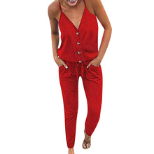 Women Summer Jumpsuit Sexy Strap V Neck Solid Strapless Solid Loose Party beach Jumpsuit Waistband Lace-up Long Pants Jumpsuit