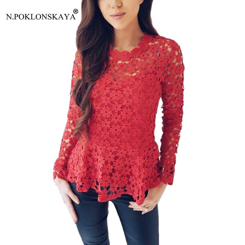 N.POKLONSKAYA 2018 Fashion Women Long Sleeve Lace T-shirt Elegant Floral Slim T Shirt Ladies Clothing Tops Sexy Top Plus Size