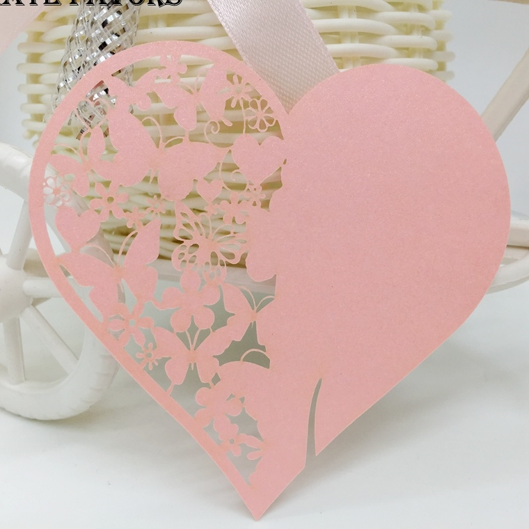 50pcs/lot mix color Laser Cut Love Heart Place Cards Wedding Name Cards For Wedding Party Table Decoration,Wedding Decoration