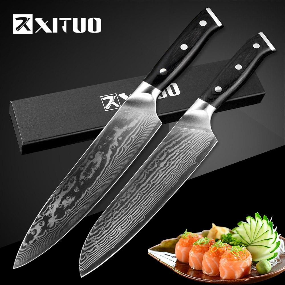 Xituo 2 шт. 7 + 8 дюймов Кухня шеф-повар Ножи комплект 67 Слои Японии VG10 Дамаск из высокоуглеродистой Сталь Профессиональный для резки мяса Santoku ин...