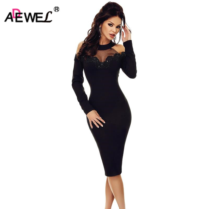 ADEWEL 2019 Spring Black Elegant Vintage Women Midi Dress <font><b>Sexy</b></font> Mesh Insert Cold Shoulder <font><b>Bodycon</b></font> Dress Party <font><b>Vestidos</b></font> <font><b>De</b></font> <font><b>Renda</b></font> image