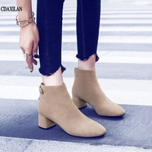 цена на CDAXILAN new arrivals boots women ankle boots cow suede square heels round toe middle heels zipper ladies sexy short boots shoes
