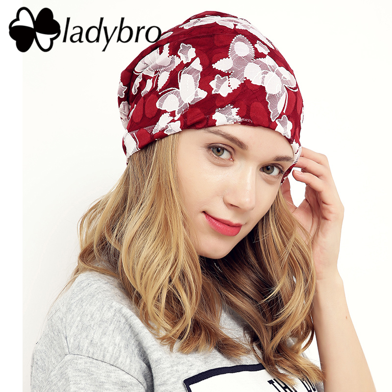 Ladybro Women Skullies Beanie Hat Female Autumn Lace Hat Cap Famale Butterfly Hat Ladies Cotton Casual Flower Bonnet Femme skullies