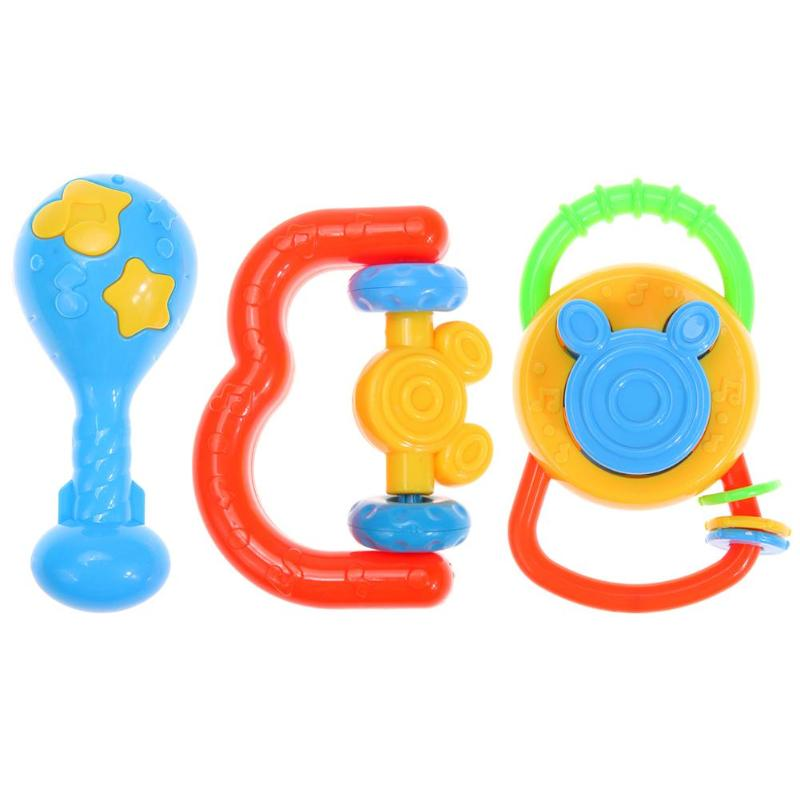 3 Pcs/Set Newborn Infants Plastic Teethers 0-12 Months Baby Rattles Grasping Bell Educational Toys Kids Gift