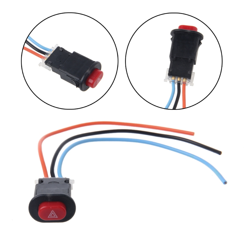 QILEJVS Motorcycle Hazard Light Switch Double Warning Flasher Emergency Signal w/3 Wires Lock-m30