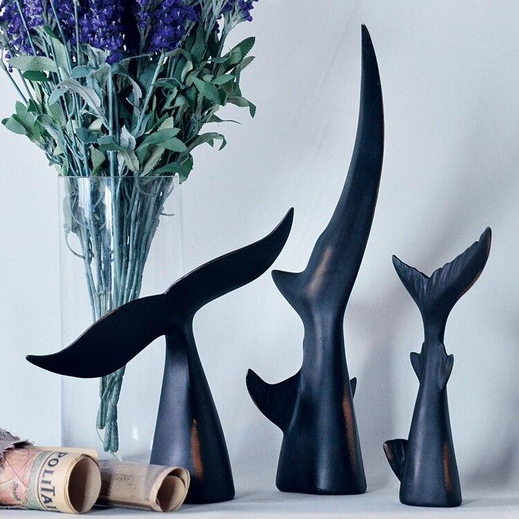 Le royaume de la mer résine queue noire de requin baleine dauphin ornements créatif échantillon décorations de salle
