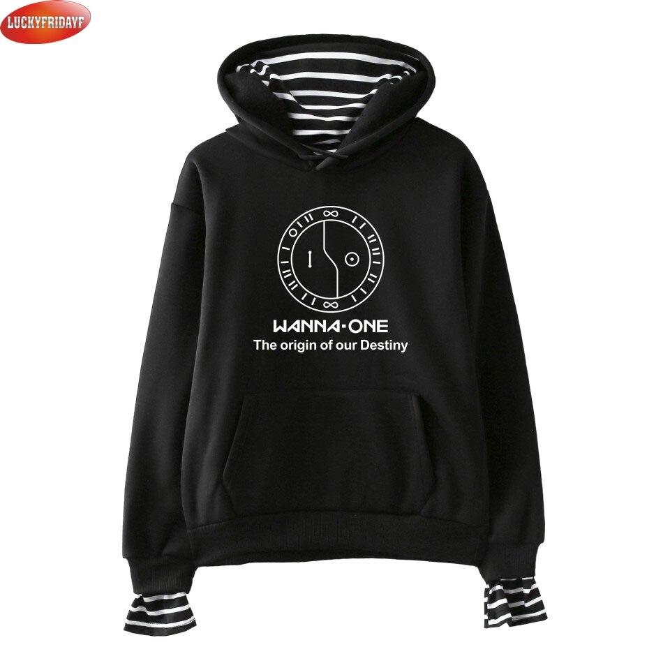 LUCKYFRIDAYF Wanna One Kpop Printed Fake Two Piece Hoodies Women Long Sleeve New Fashion Hooded Sweatshirts 2018 Casual Hoodies