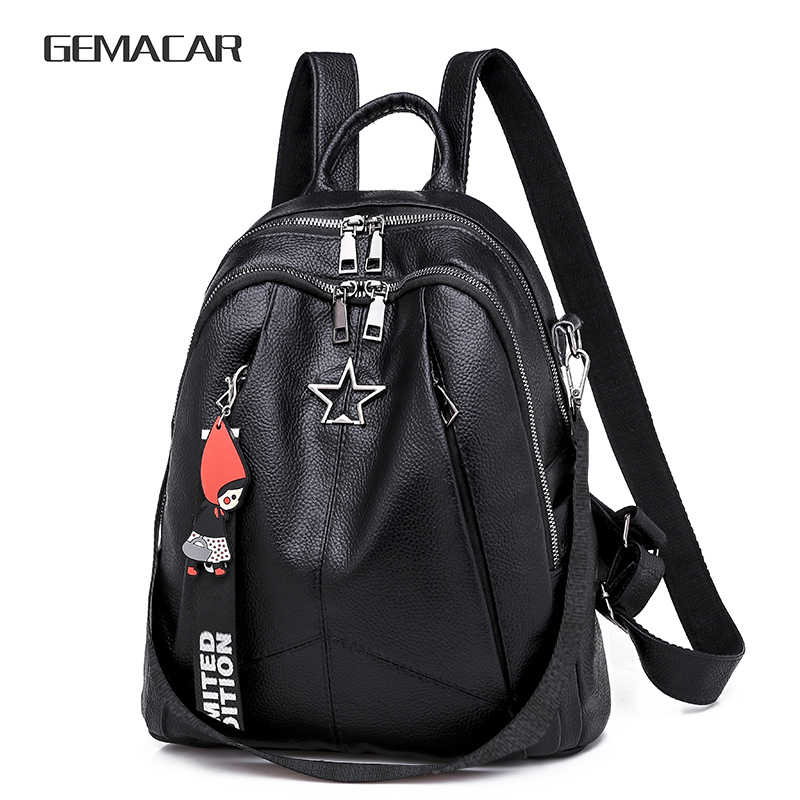 Minimalism Female Backpack Pu Leather Youth Women Bagpack Beautiful Fashion Girl Casual Rucksacks Lady Shoulder Bag 2019 New
