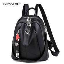 Fashion Female Backpack PU Leather Youth Women Bagpack Black Girl Casual School Bag 2020 New Lady Multifunctional Bag