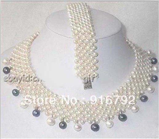 free P&P >>>>>Noblest White Black FW Pearl Handcraft 7 Rows Necklace Bracelet Set fitworld fw 4500 page 7