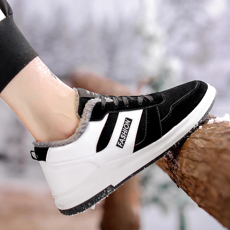 Chaud En Hommes Nouveaux Mode Black Casual Appartements Simple Hiver Mâle White Homme Sneakers Hemmyi Cuir Chaussures black Red Confortable Lacent Élégant qIw6Cd