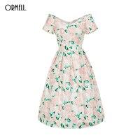 ORMELL Elegant Lady Print Evening Party Dresses Sexy Vintage A-Line Flower Vestidos Summer Off Shoulder Women Dress Plus Size