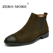 ZERO MORE Mens Boots Hot Sale Slip On Shoes Men British Chelsea Ankle Boots Men Sewing Pointed Toe Men Boots Stretch Fabric