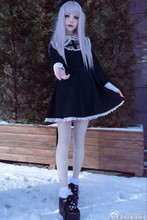 Japanese Harajuku Black and Beige Gothic Lolita Dress Girls Nun Sister Anime Cosplay Party Dress