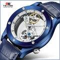 Роскошные автоматические механические часы с кожаным ремешком  наручные часы с прозрачным скелетом  повседневные часы