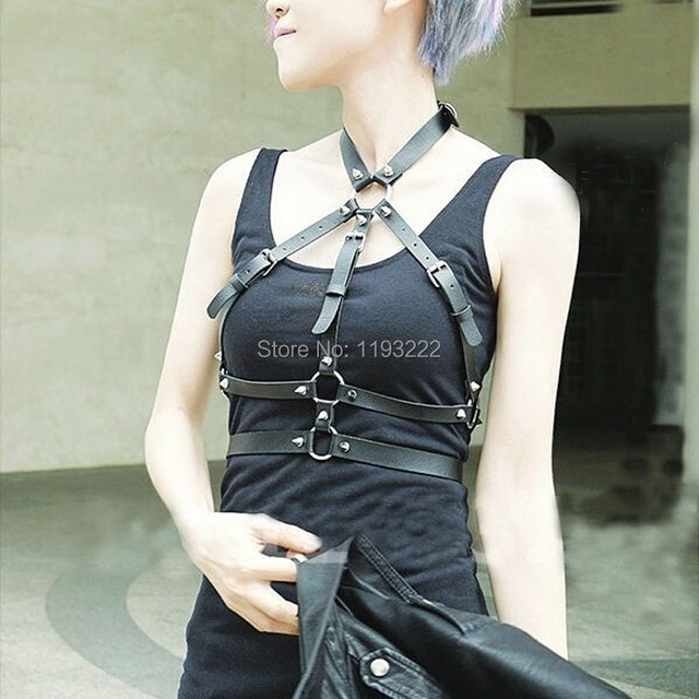 Punk Gothic Cosplay 100% Handcrafted Leather Harness Spikes Choker Halter Collar Bra Caged Body Bondage Belt Sculpting Straps