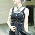Punk gótico Cosplay 100% artesanais chicote de couro Spikes gargantilha Halter Collar Bra Caged corpo Bondage cinto Sculpting tiras
