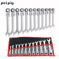 12PCS Dual use Movable Head Ratchet Wrench Quick Wrench Set Hardware Ratchet Wrench Set Car Repair Tool