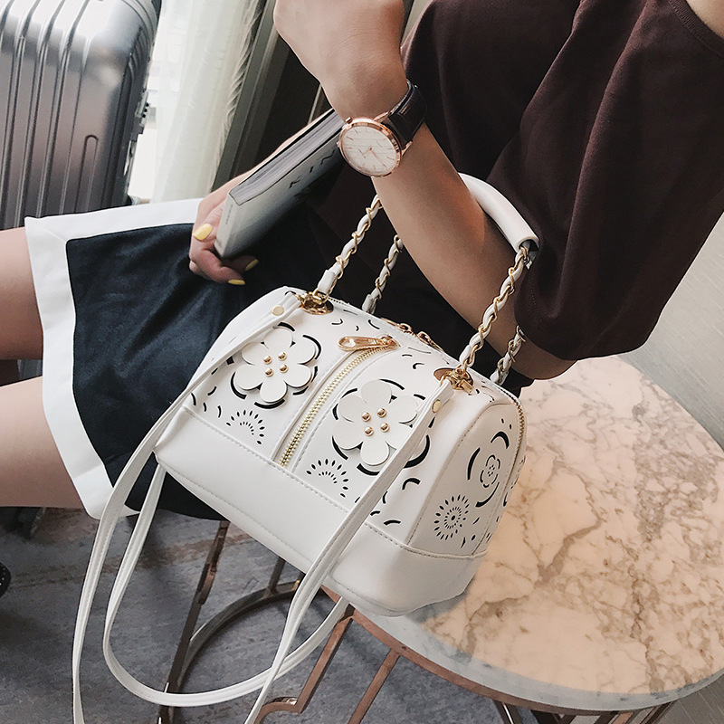 Brand new women messenger bags flower hollow out design boston handbag female tassel bag vintage shoulder bag white 543 leftside fashionable 2017 women tassel designer rivet boston bag female handbag woman hand bags shoulder bag with wide strap