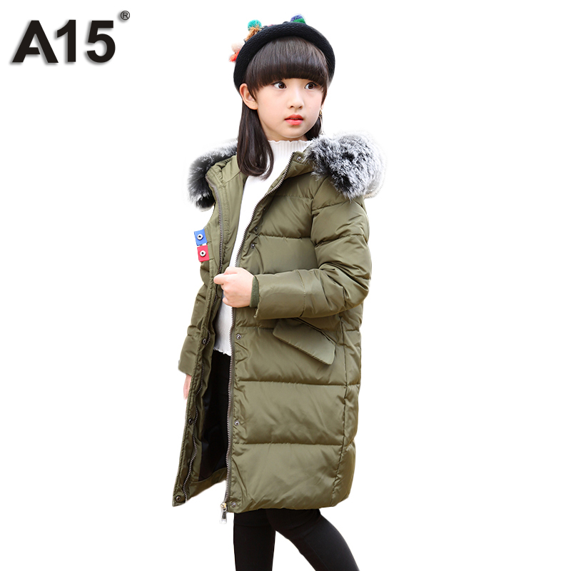 A15 Brand 2017 Cold Winter Jacket for Girls Clothes Hooded Kids Down Coat Children Clothing Girls Parkas Outerwear Warm Overcoat a15 girls down jacket 2017 new cold winter thick fur hooded long parkas big girl down jakcet coat teens outerwear overcoat 12 14