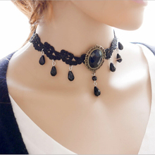 New Black Leather Chains Ladies Lace Chokers 2016 Waterdrop Pendant  Neck Choker Necklace Women Collar Jewelry Accessories