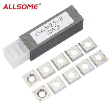 ALLSOME 10 шт. 15x15x2,5 мм 30 градусов карбидные вставки резак для инструменты для токарной обработки древесины HT1913