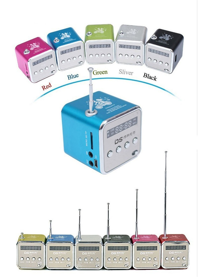 New Portable MP3 Music Player LCD Screen Amplifier Micro SD TF Card USB Disk Speaker With FM Radio Electronic Products Rainbow