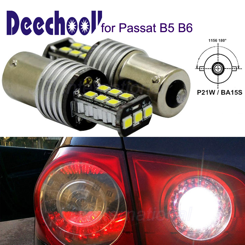 2x BA15S Car LED Bulbs for VW Passat B5 B6 Canbus Auto P21W 1156 LED Reverse Lights OR W5W Wedge Lights for Passat 01 10 in Signal Lamp from Automobiles Motorcycles