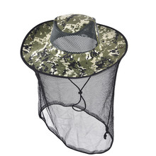 Tropic Hats Summer Wide Brim Camouflage Mosquito net Outdoor Fishing Cap Bee Hat Flying Insects Prevention Cap Bucket Mesh Hat