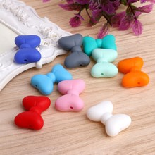 2017 5Pcs Bow Silicone Teething Bead DIY Chew Necklace Pendent Baby Teether Making NOV6_15(China)