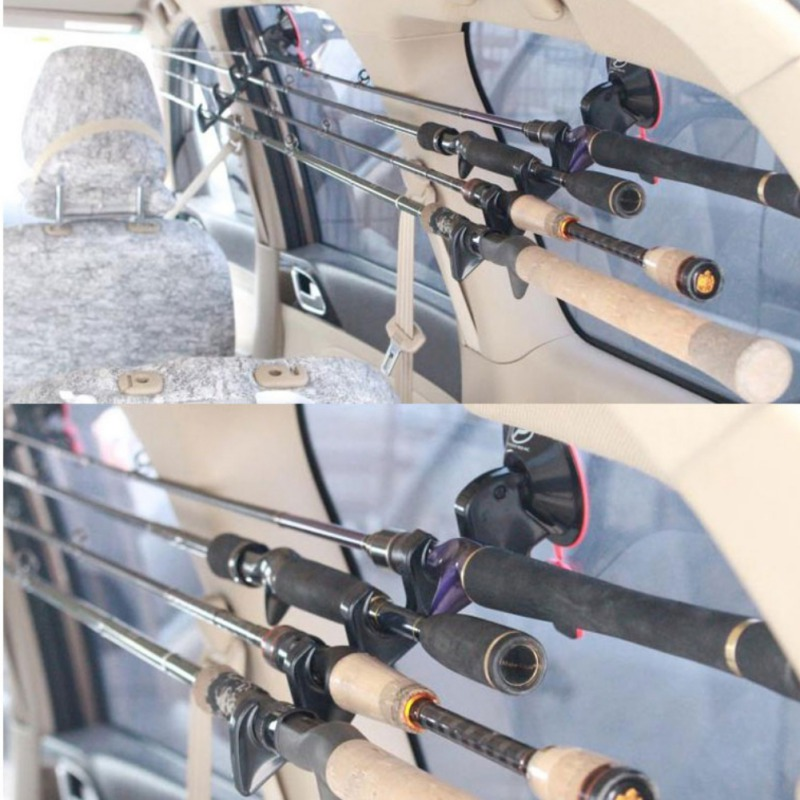 Portable Fishing Rod Holder Fly Fishing Vehicle Rod Holder/Straps Fishing Pole Rack Bracket With Suction Cup Fishing Accessories