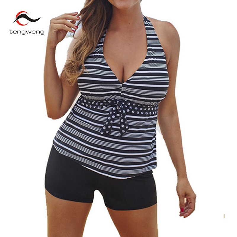 2017 Plus size Women Swimwear Halter Two piece Retro Tankini Swimsuit BathingSuit Shorts Female Split Swim Beach Wear Bikini Set
