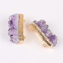 1pc Natural purple Crystal Stone Slice Pendants Irregular Druzy Raw Purple Pendant DIY Jewelry Charm