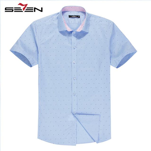 Seven7 camisas dos homens do verão 100% algodão pequeno gráfico all over imprimir magro botão para baixo camisas de manga curta moda camisas 108a38100