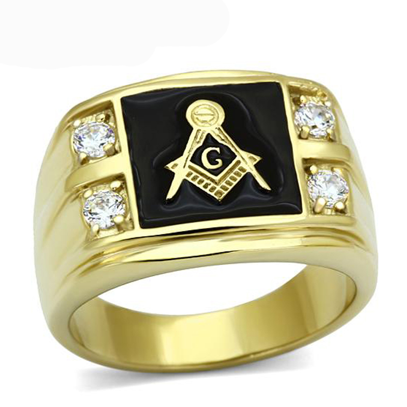 New Arrival Men s Stainless Steel CZ Masonic Ring AAA Quality Cubic Zirconia Ionic Gold Environmental