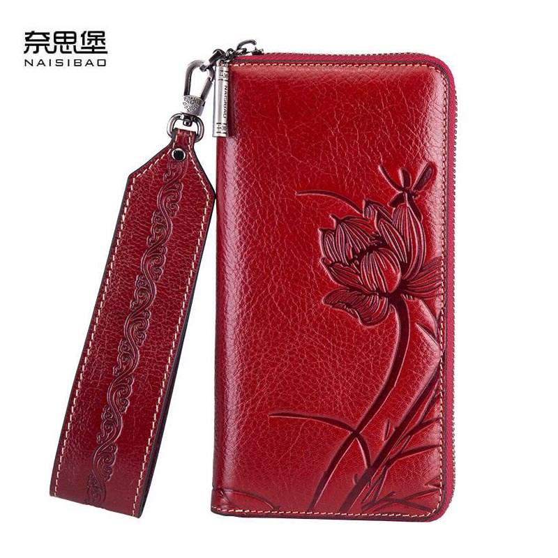 цена на NAISIBAO 2018 New women genuine leather wallets designer brands fashion embossing zipper long womens wallets leather clutch bags