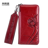 NAISIBAO 2019 New women genuine leather wallets designer brands fashion embossing zipper long womens wallets leather clutch bags