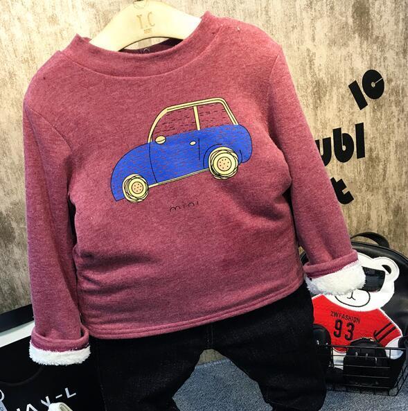 2016 Зимние и осенние детей новых мальчиков и девочек теплый пуловер печати толщиной плюс бархат свитер рубашки детская одежда