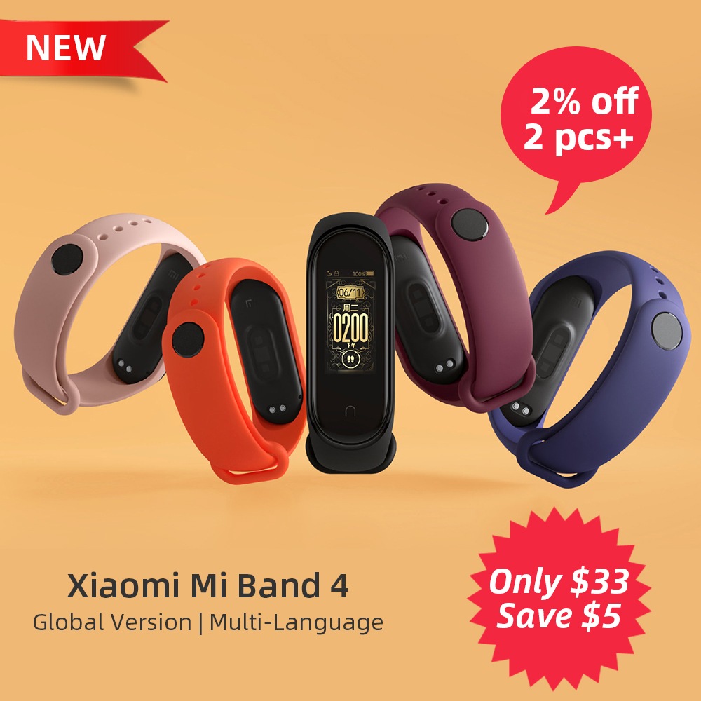 2019 nouvelle Version mondiale Xiao mi bande 4 Bracelet intelligent Bracelet de fréquence cardiaque Fitness Bluetooth 5.0 135 mAh couleur écran montre