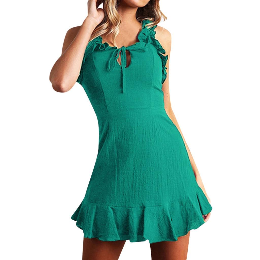 Summer Sexy Party Dress Women Fashion Dress Women Clothes 2019Round Neck Sleeveless Sexy Fashion Tie-up High Rise Ruffle Dress