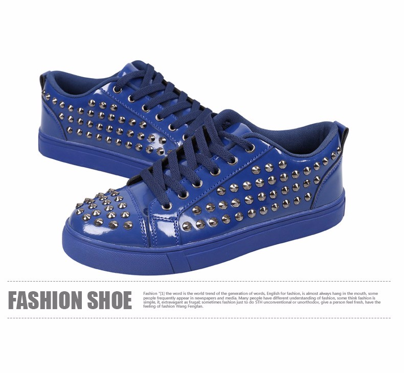 Fashion Patent Leather Men\'s Loubuten Shoes Zapatillas Superstar Casual Low Top Rivets Men Shoes Size 39-44 Round Toe Flats F13 (12)