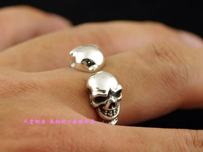 Plata de ley 925 abierto del doble del cráneo hombres anillo de plata tailandés - 3