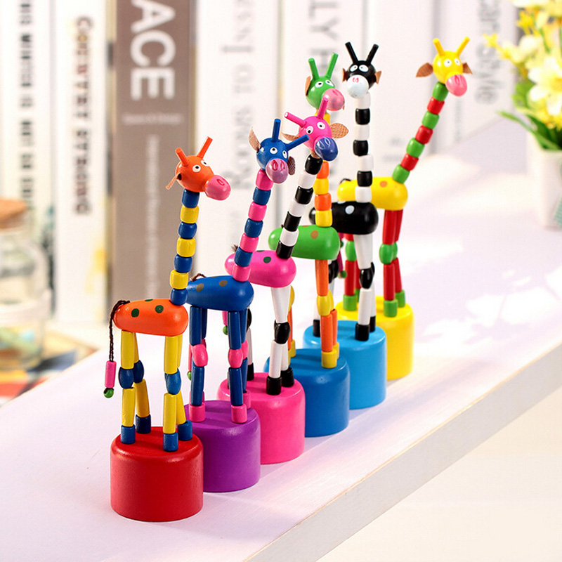New Multifunctional Baby Wooden Toys Developmental Dancing Standing Rocking Giraffe Cute Spring Baby Rattle Toys
