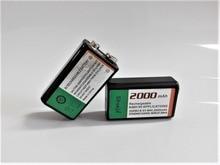 -Grande capacidade de 2000 mAh 9 V bateria recarregável de 9 volts da bateria Ni-MH para Microfone