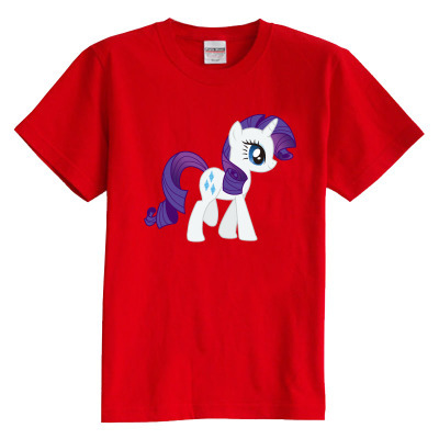 Children's T shirt summer short sleeve 100% cotton boy girl kid t shirt Rainbow small horse